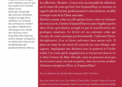 Beautés, Artistes ou lettrés, Mac Devade & pratiques contemporaines, Lienart (4e de couverture)