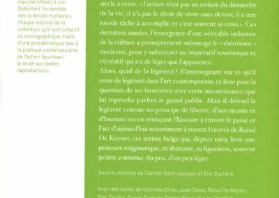 Beautés, Principe de légèreté, Raoul de Keyser & pratiques contemporaines, Lienart (4e de couverture)