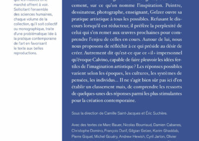Beautés, L'imagination est un lieu où il pleut, Gilgian Gelzer & pratiques contemporainesGalerie Jean Fournier / FRAC Auvergne (4e de couverture)
