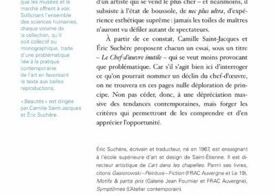Beautés, Camille Saint-Jacques et Éric Suchère, Le Chef-d'œuvre inutile L'Atelier contemporain / FRAC Auvergne (4e de couverture)