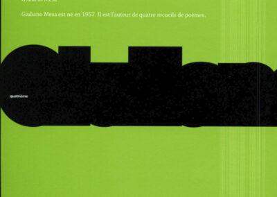 Giuliano Mesa, Quatre cahiers, Impromptus, 1995-1998, Biennale Internationale des Poètes en Val-de-Marne (4e de couverture)