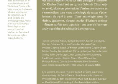 Éric Suchère, Motifs & partis pris, Galerie Jean Fournier / Frac Auvergne (4e de couverture)